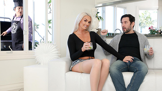 Brook Page - While Her Husband Grills Brook Gets That Pussy Drilled [Cherry Pimps] - April 6, 2021